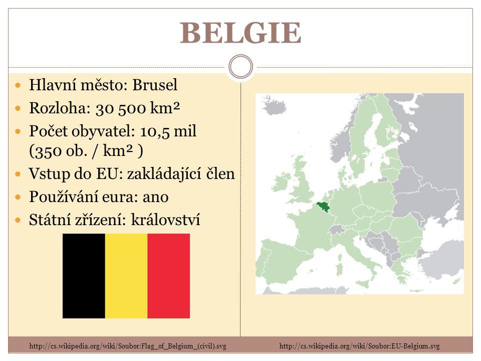 BELGIE Hlavní město: Brusel Rozloha: 30 500 km²