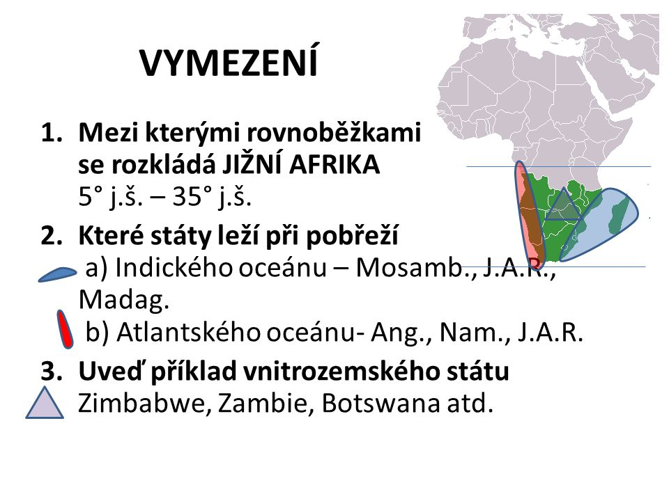 VYMEZENÍ Mezi kterými rovnoběžkami se rozkládá JIŽNÍ AFRIKA 5° j.š. – 35° j.š.
