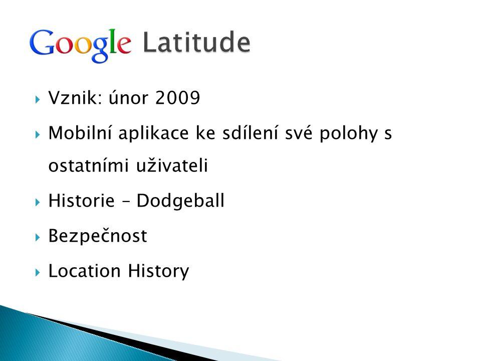 Latitude Vznik: únor 2009. Mobilní aplikace ke sdílení své polohy s ostatními uživateli. Historie – Dodgeball.