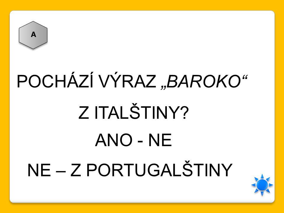 """POCHÁZÍ VÝRAZ """"BAROKO"""