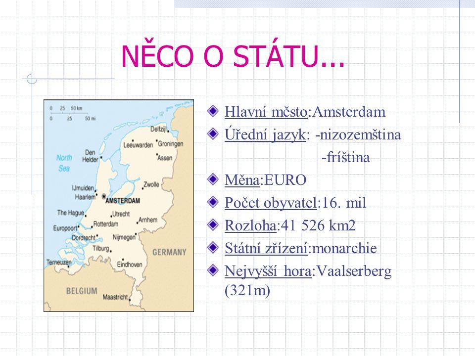 NĚCO O STÁTU... Hlavní město:Amsterdam Úřední jazyk: -nizozemština