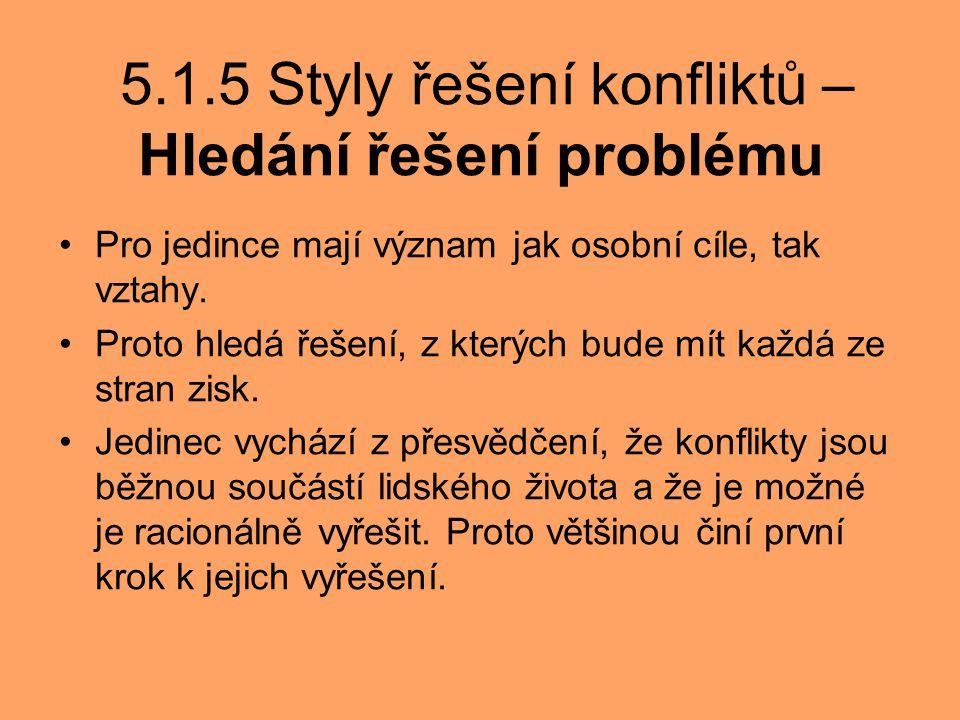 5.1.5 Styly řešení konfliktů – Hledání řešení problému