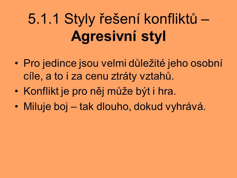 5.1.1 Styly řešení konfliktů – Agresivní styl