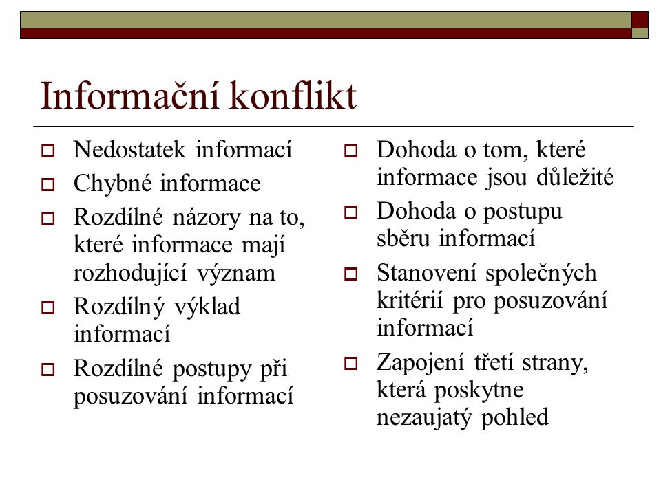 Informační konflikt Nedostatek informací Chybné informace