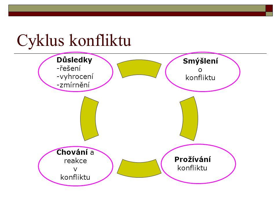 Cyklus konfliktu Důsledky -řešení -vyhrocení -zmírnění