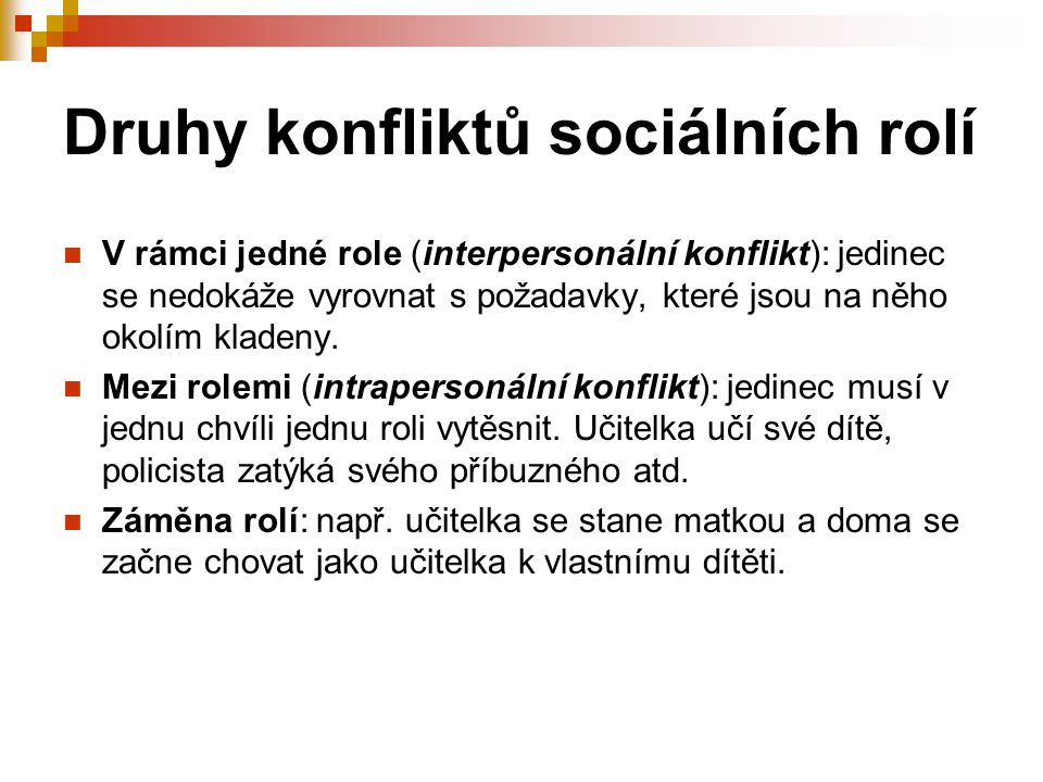 Druhy konfliktů sociálních rolí