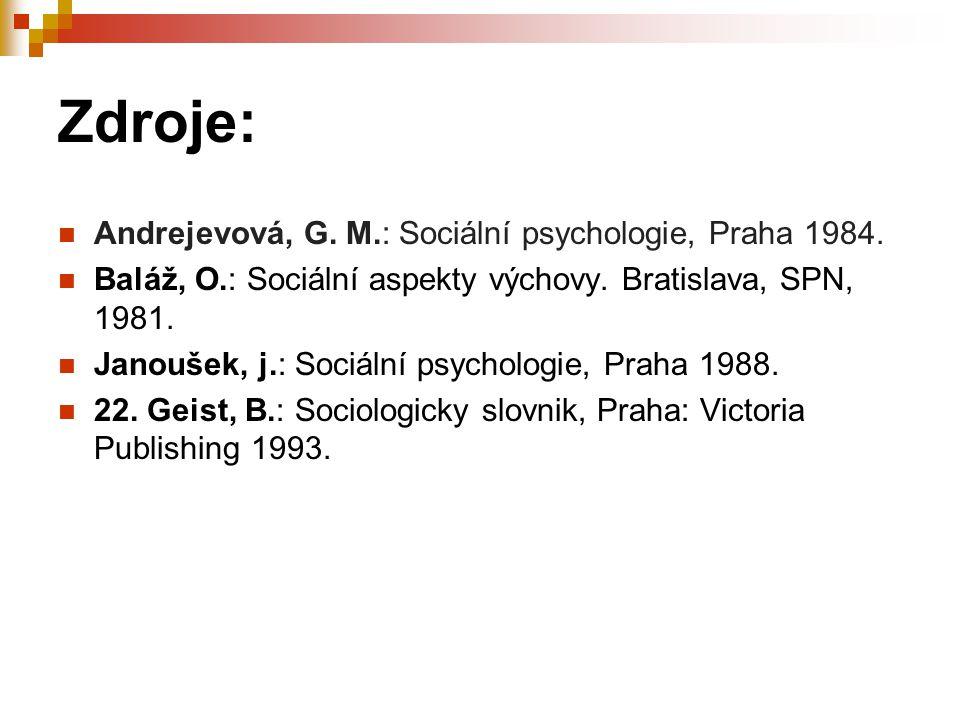 Zdroje: Andrejevová, G. M.: Sociální psychologie, Praha 1984.