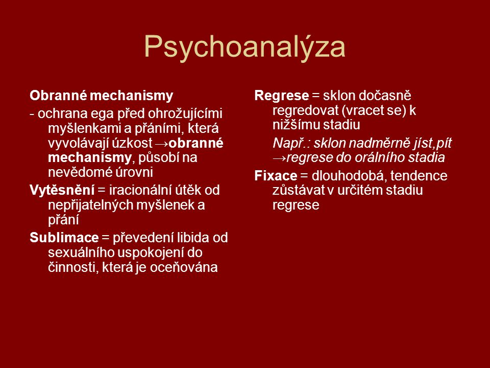 Psychoanalýza Obranné mechanismy