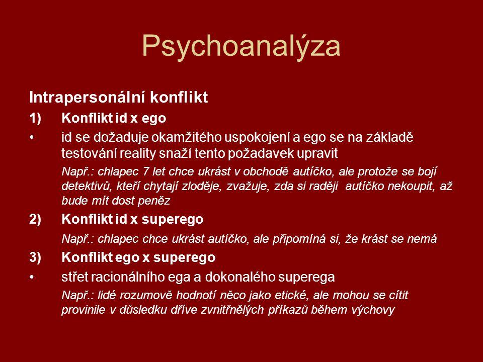 Psychoanalýza Intrapersonální konflikt Konflikt id x ego