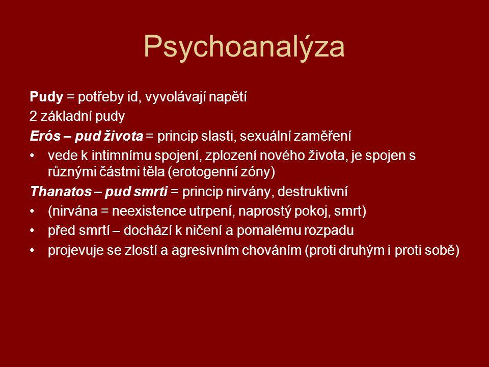 Psychoanalýza Pudy = potřeby id, vyvolávají napětí 2 základní pudy