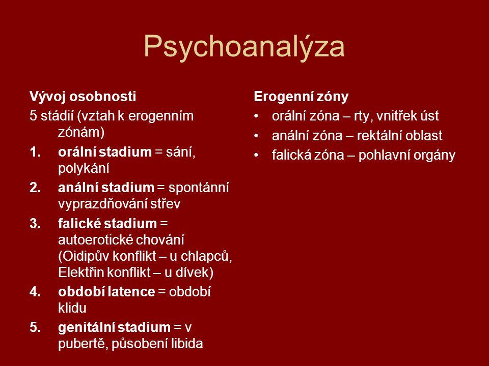 Psychoanalýza Vývoj osobnosti 5 stádií (vztah k erogenním zónám)