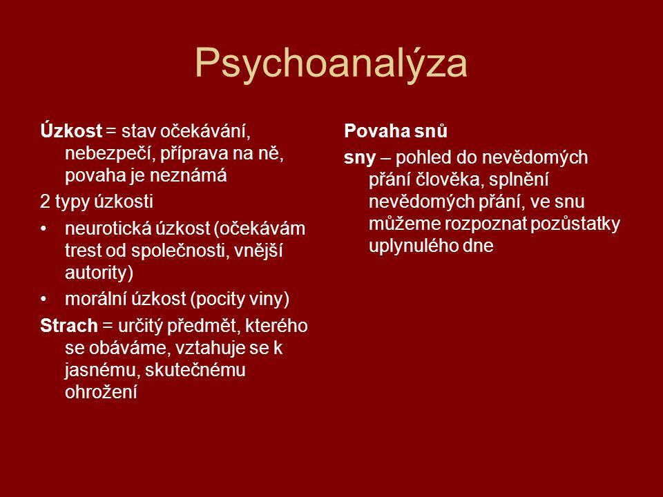 Psychoanalýza Úzkost = stav očekávání, nebezpečí, příprava na ně, povaha je neznámá. 2 typy úzkosti.