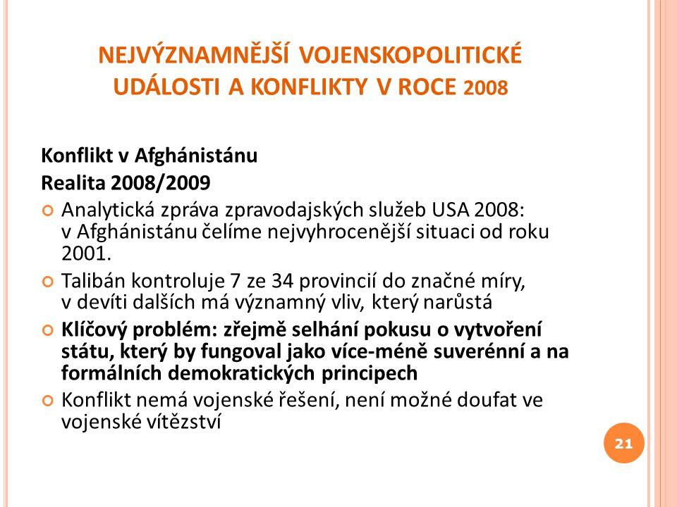 NEJVÝZNAMNĚJŠÍ VOJENSKOPOLITICKÉ UDÁLOSTI A KONFLIKTY V ROCE 2008