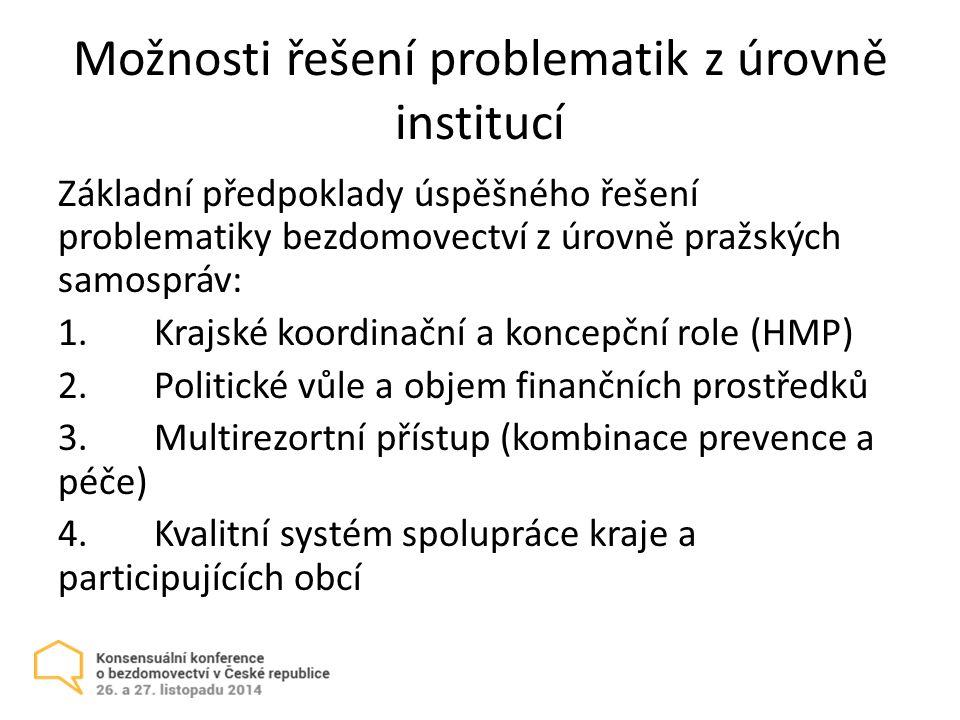 Možnosti řešení problematik z úrovně institucí