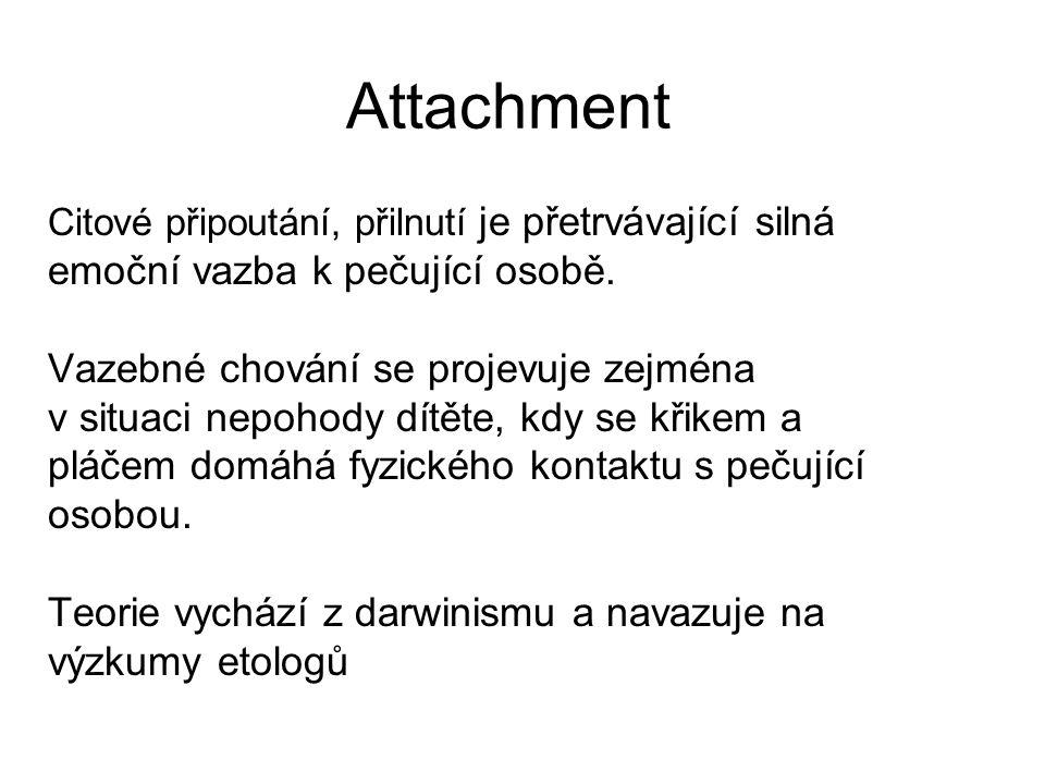 Attachment emoční vazba k pečující osobě.
