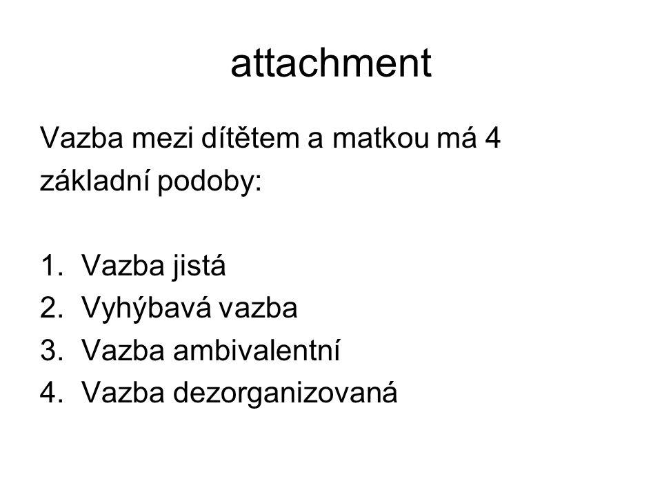 attachment Vazba mezi dítětem a matkou má 4 základní podoby: