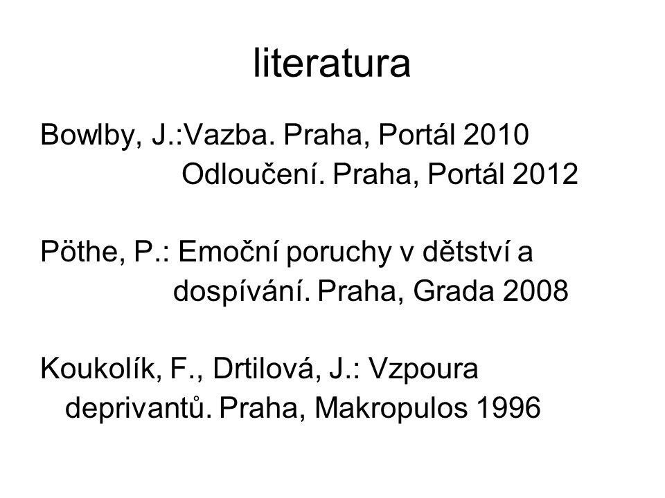 literatura Bowlby, J.:Vazba. Praha, Portál 2010