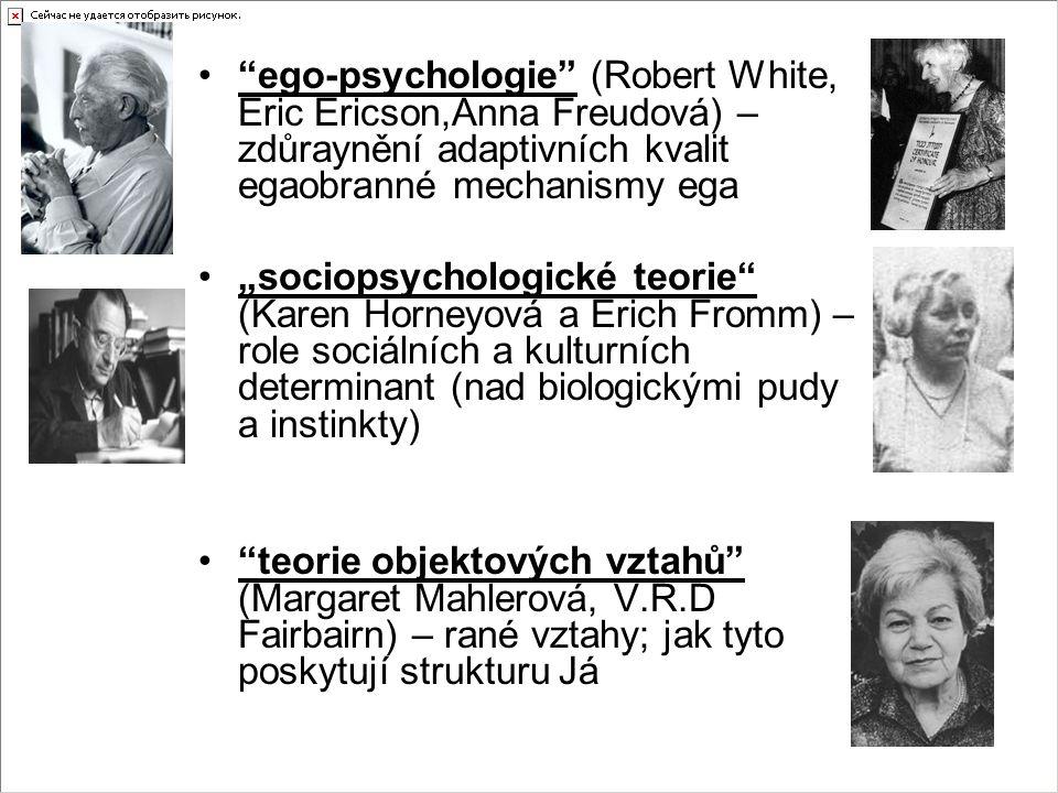 ego-psychologie (Robert White, Eric Ericson,Anna Freudová) – zdůraynění adaptivních kvalit egaobranné mechanismy ega