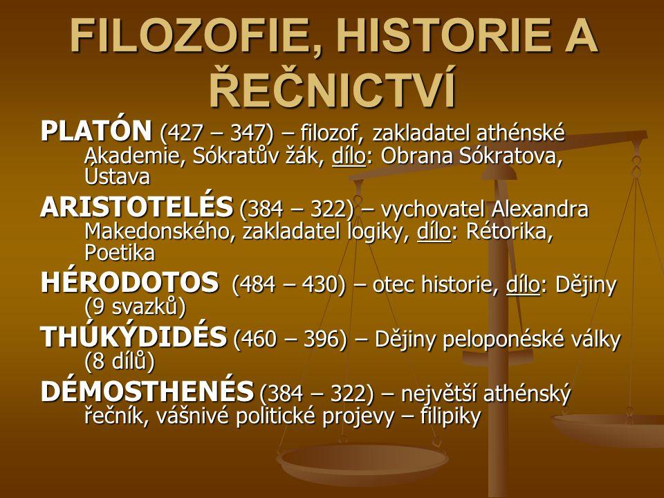 FILOZOFIE, HISTORIE A ŘEČNICTVÍ