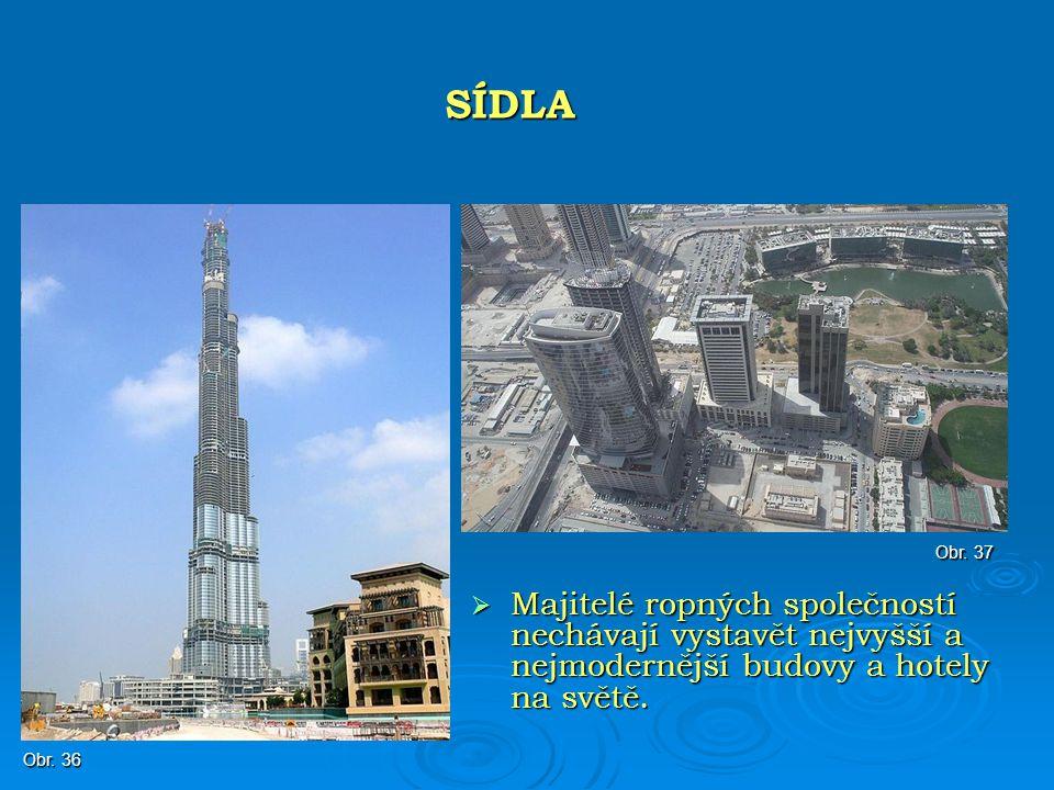 SÍDLA Obr. 37. Majitelé ropných společností nechávají vystavět nejvyšší a nejmodernější budovy a hotely na světě.