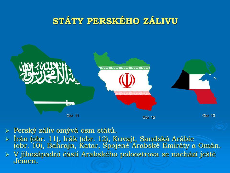 STÁTY PERSKÉHO ZÁLIVU Perský záliv omývá osm států.