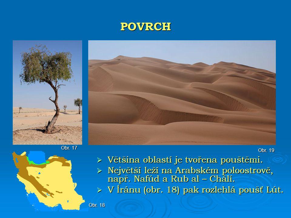 POVRCH Většina oblastí je tvořena pouštěmi.
