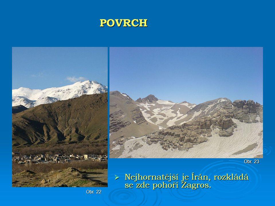 POVRCH Nejhornatější je Írán, rozkládá se zde pohoří Zagros. Obr. 23