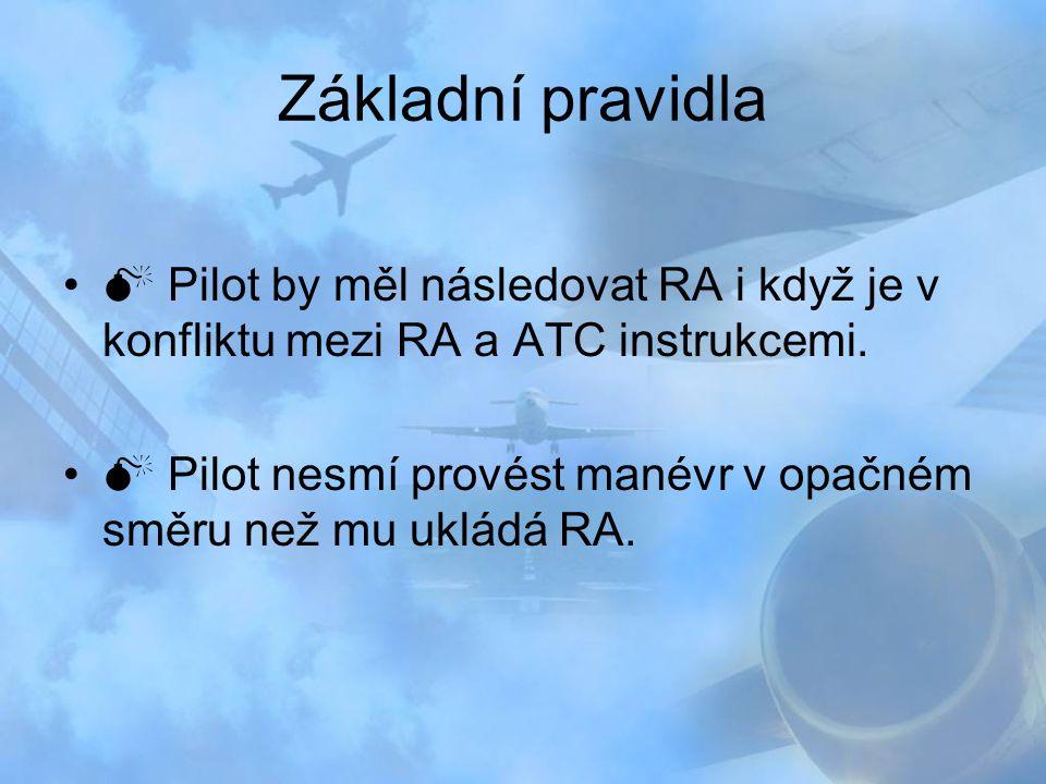 Základní pravidla  Pilot by měl následovat RA i když je v konfliktu mezi RA a ATC instrukcemi.