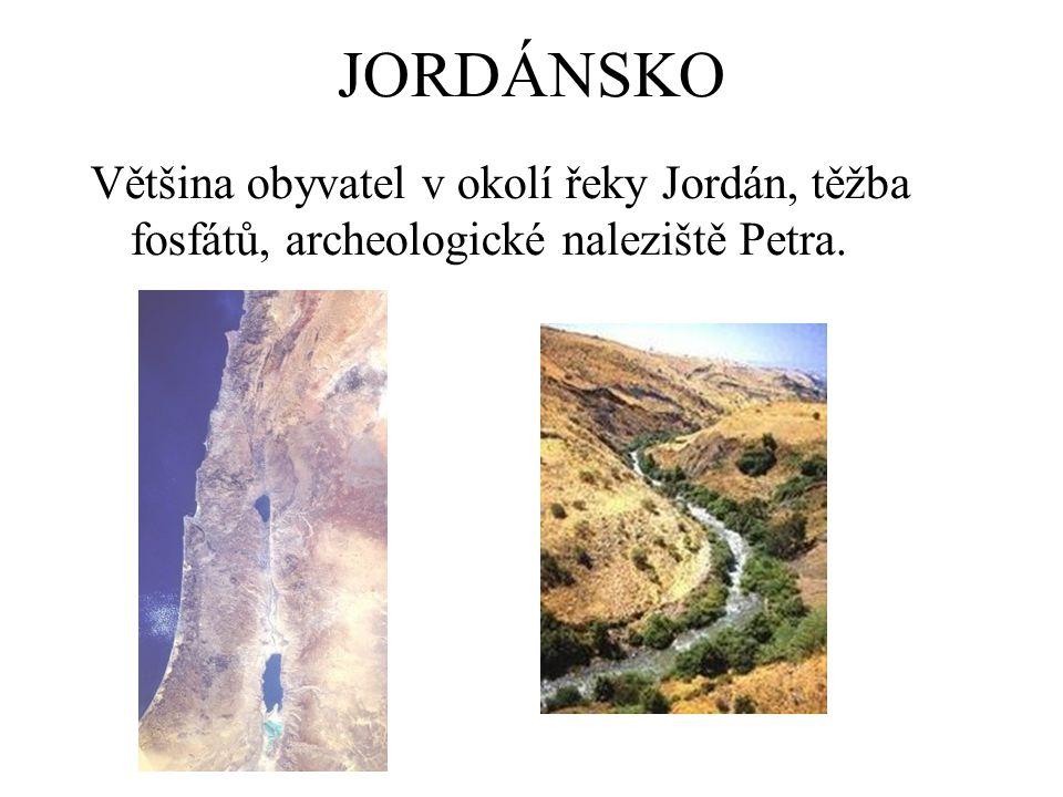 JORDÁNSKO Většina obyvatel v okolí řeky Jordán, těžba fosfátů, archeologické naleziště Petra.