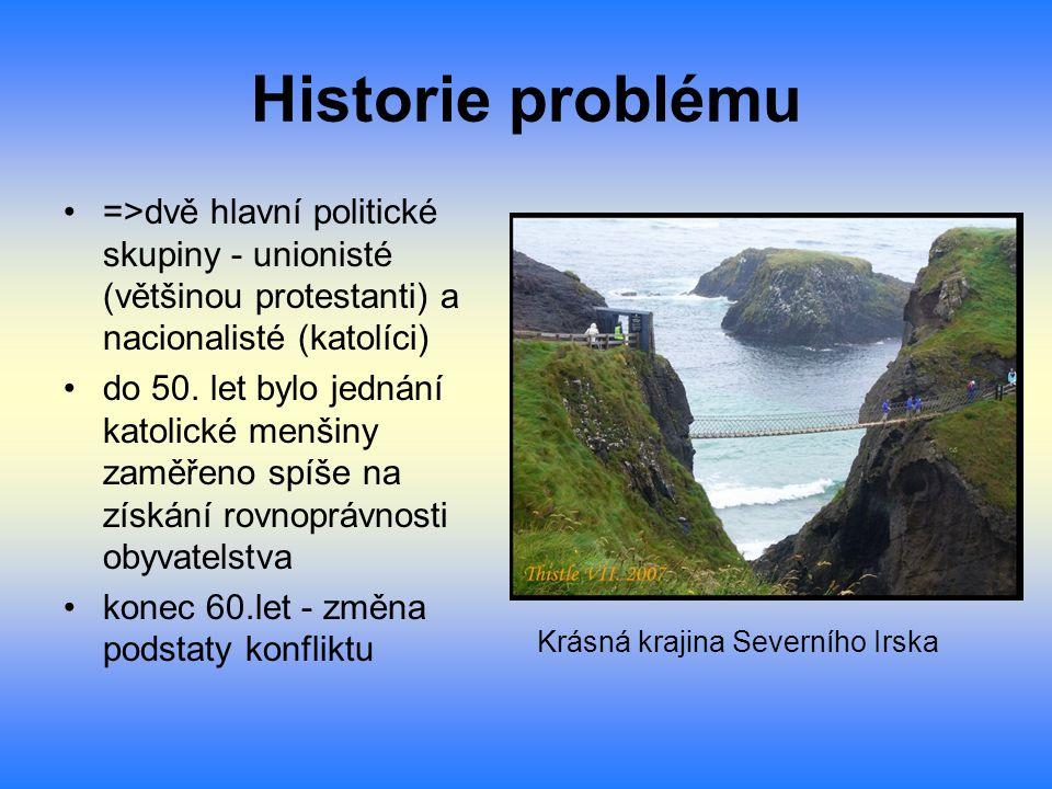 Historie problému =>dvě hlavní politické skupiny - unionisté (většinou protestanti) a nacionalisté (katolíci)
