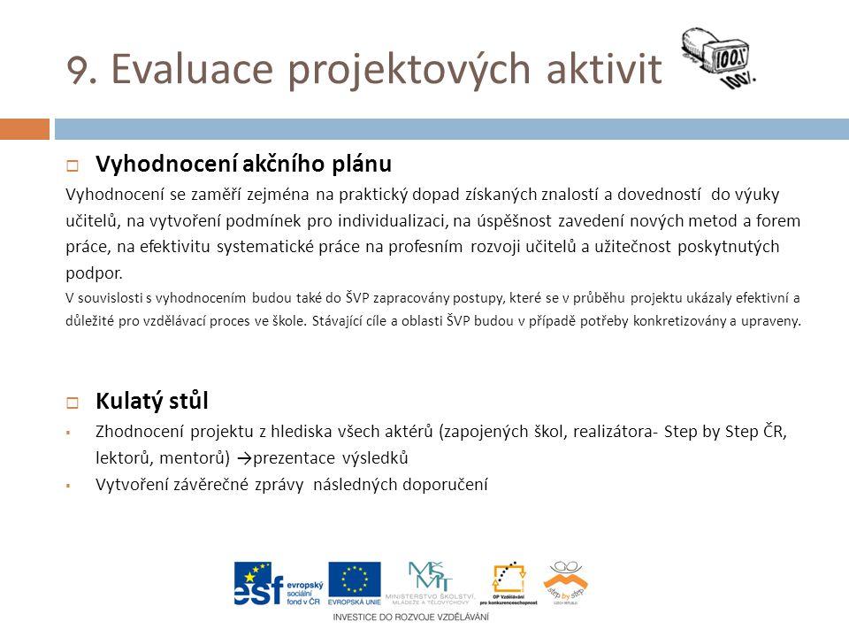 9. Evaluace projektových aktivit