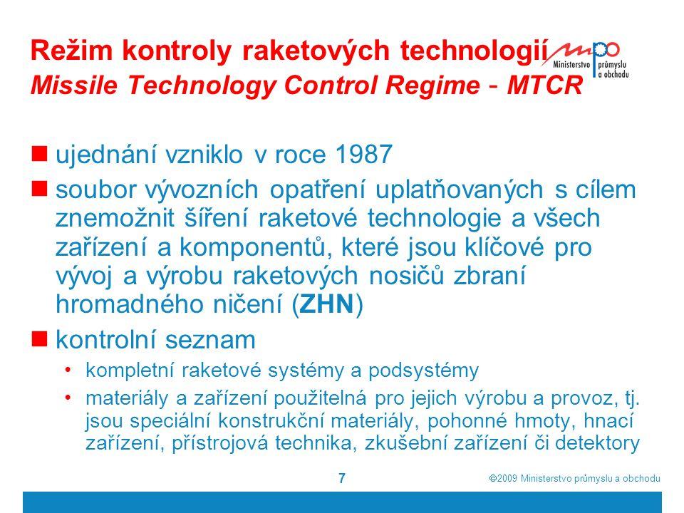 Režim kontroly raketových technologií Missile Technology Control Regime - MTCR