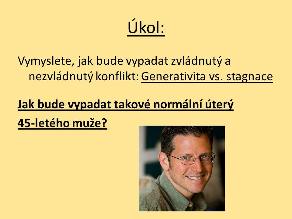 Úkol: Vymyslete, jak bude vypadat zvládnutý a nezvládnutý konflikt: Generativita vs.
