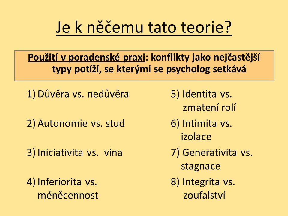 Je k něčemu tato teorie Použití v poradenské praxi: konflikty jako nejčastější typy potíží, se kterými se psycholog setkává.