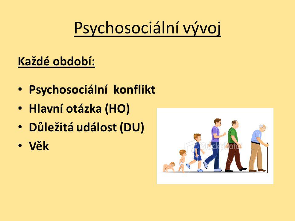Psychosociální vývoj Každé období: Psychosociální konflikt