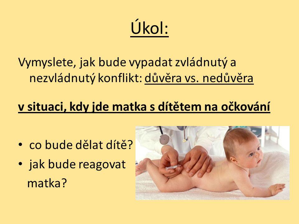 Úkol: Vymyslete, jak bude vypadat zvládnutý a nezvládnutý konflikt: důvěra vs. nedůvěra. v situaci, kdy jde matka s dítětem na očkování.
