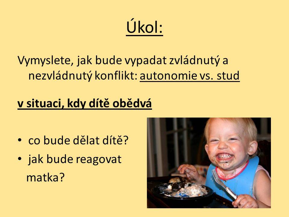 Úkol: Vymyslete, jak bude vypadat zvládnutý a nezvládnutý konflikt: autonomie vs. stud. v situaci, kdy dítě obědvá.