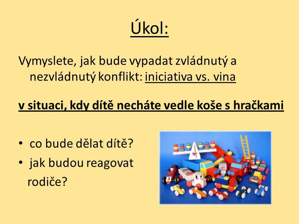 Úkol: Vymyslete, jak bude vypadat zvládnutý a nezvládnutý konflikt: iniciativa vs. vina. v situaci, kdy dítě necháte vedle koše s hračkami.