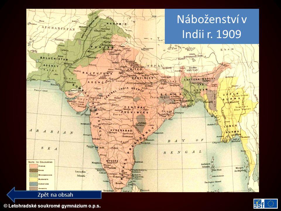Náboženství v Indii r. 1909 Zpět na obsah
