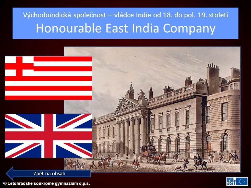 Východoindická společnost – vládce Indie od 18. do pol. 19