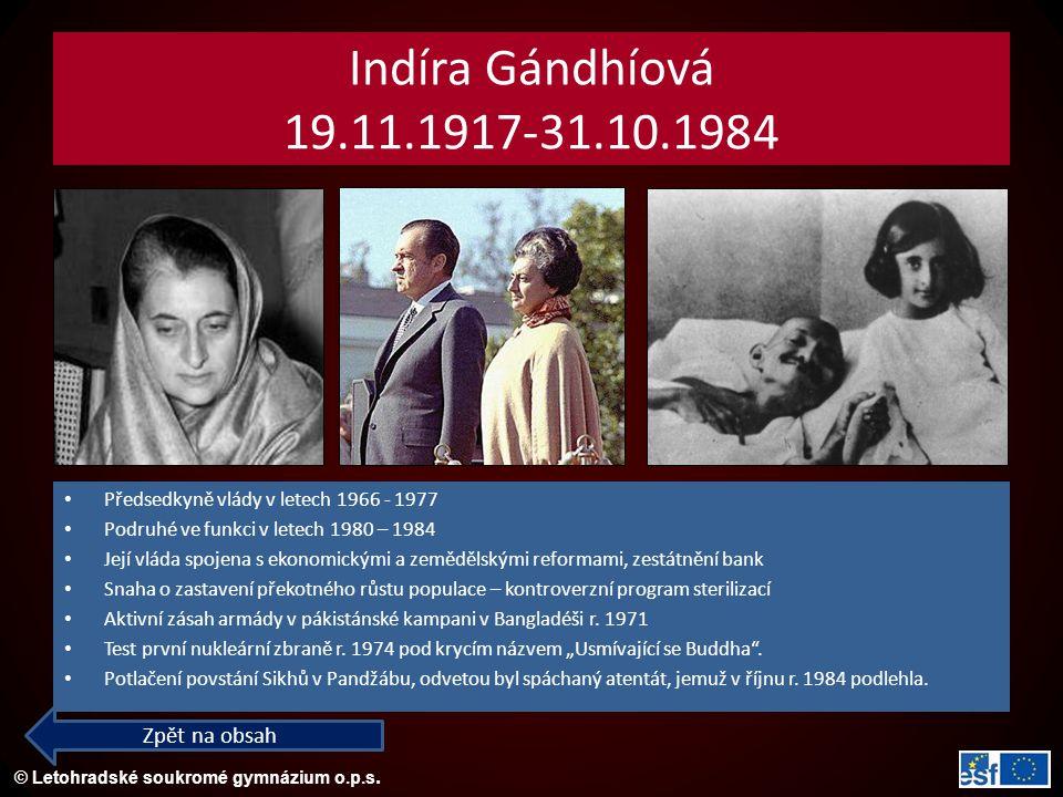 Indíra Gándhíová 19.11.1917-31.10.1984 Zpět na obsah