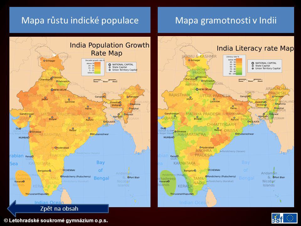 Mapa růstu indické populace Mapa gramotnosti v Indii