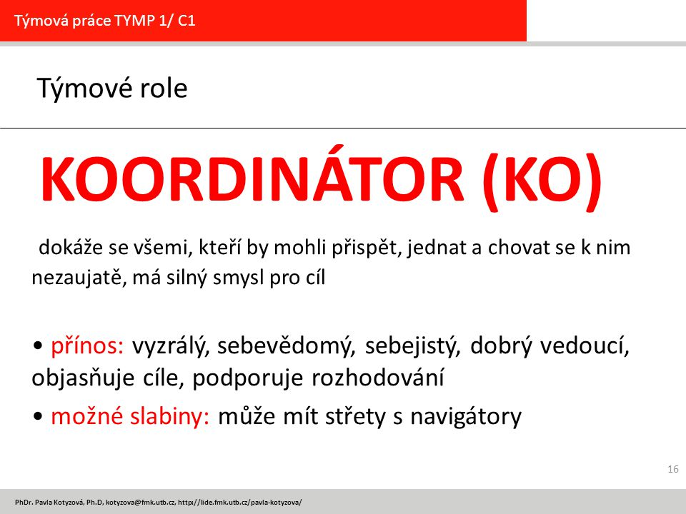 Týmové role KOORDINÁTOR (KO)