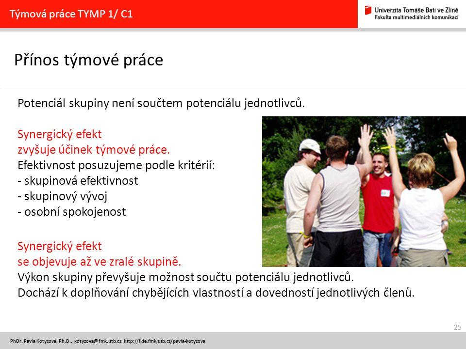 Týmová práce TYMP 1/ C1 Přínos týmové práce. Potenciál skupiny není součtem potenciálu jednotlivců.