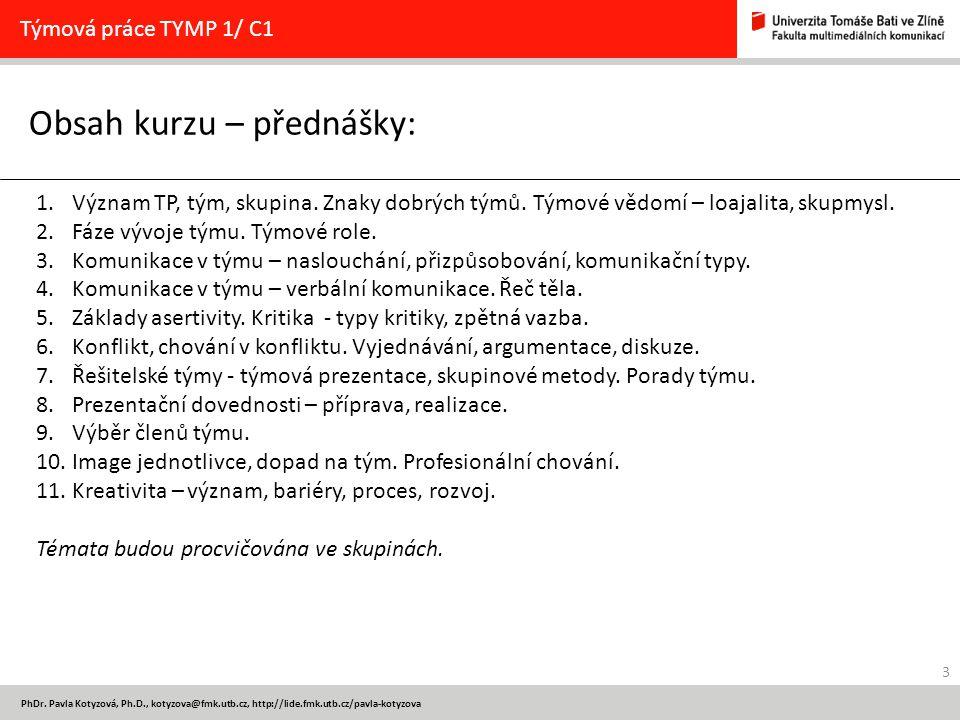 Obsah kurzu – přednášky: