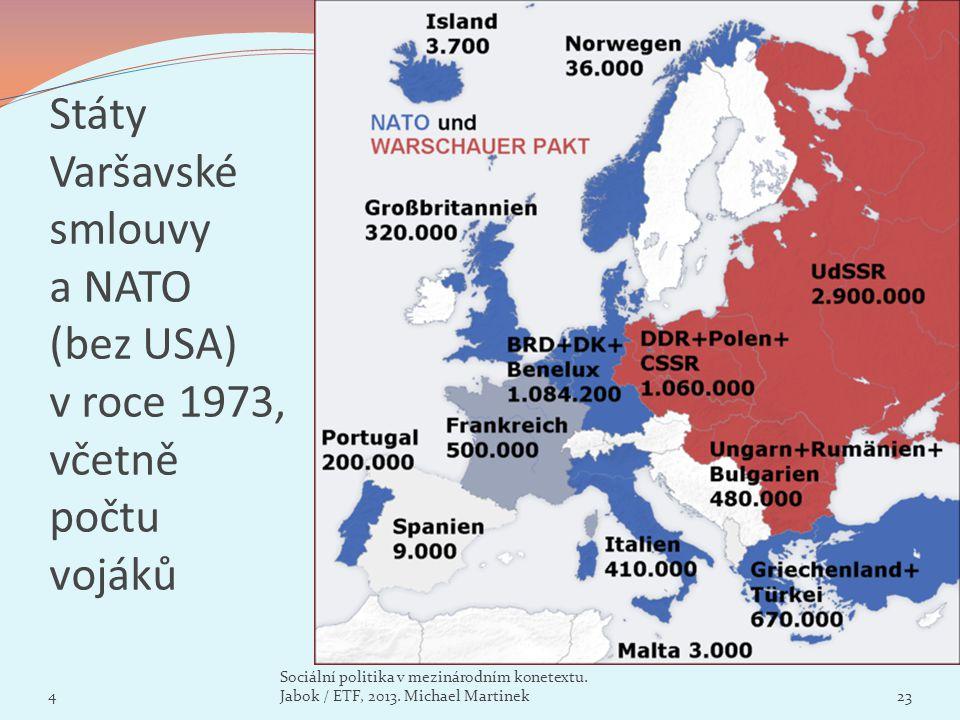 Státy Varšavské smlouvy a NATO (bez USA) v roce 1973, včetně počtu vojáků