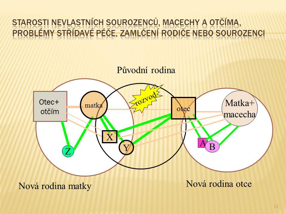 Původní rodina Matka+ macecha X A Y B Z Nová rodina otce