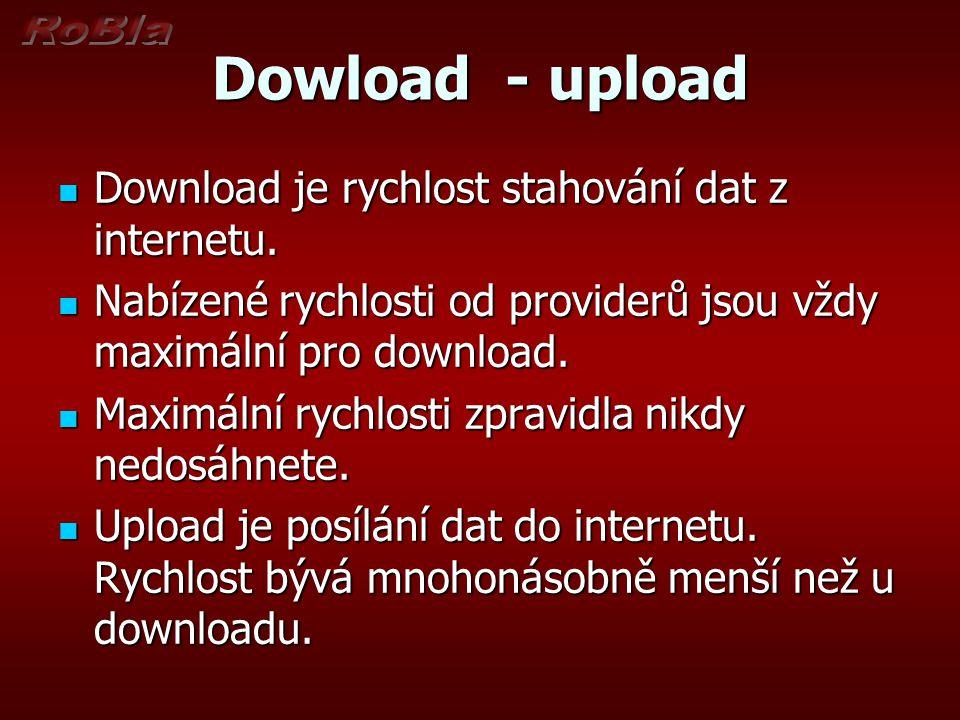 Dowload - upload Download je rychlost stahování dat z internetu.