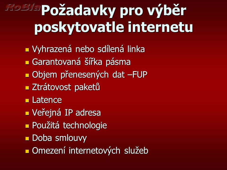 Požadavky pro výběr poskytovatle internetu