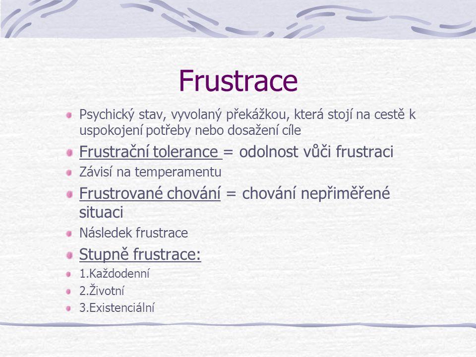 Frustrace Frustrační tolerance = odolnost vůči frustraci